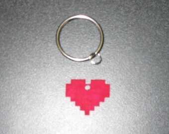8 Bit Retro Vintage Heart - Keychain, Necklace, Earrings, Charm, Stickers, Tattoos, Embroidered Patch, Magnets