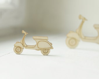 LITTLE wooden vespa shape, natural wood,  ready to decorate, unpainted, make your own necklace, wooden supplies, jewelry supplies