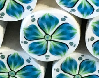 Blue and green polymer clay flower cane, raw cane