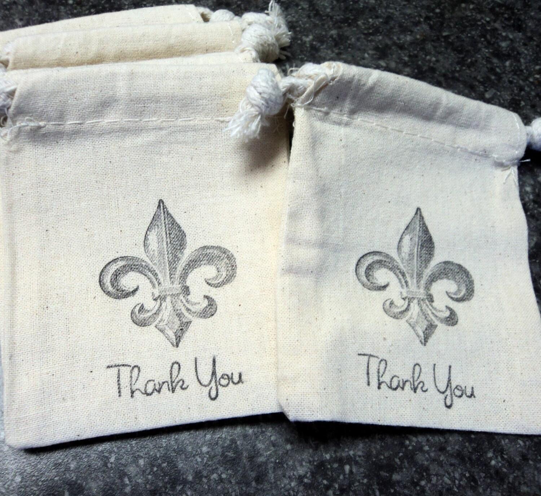 6 Muslin Bags, Black Fleur De Lis, Gift Bags, Wedding Favor Bags ...