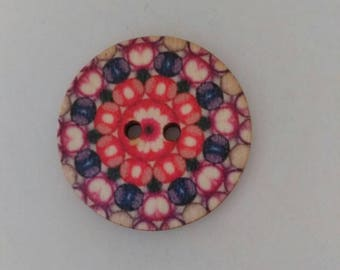 Set of 2 new graphic pattern wooden buttons