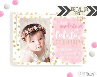 Pink and Gold Onederland Invitation | Digital or Printed | Wonderland Party | Winter Onederland Invitation |  Pink Gold Party Invitation