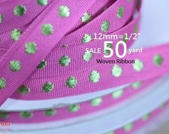"""C4E002-12mm(1/2"""") Bottom Rose  Dot  Gold Woven Ribbon ,Grosgrain Ribbon(Pick Length)."""
