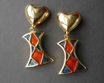 Big chunky gold tone heart and enamel clip on earrings