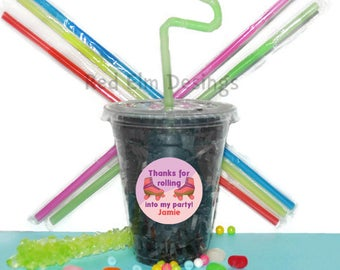 Roller skate Party Cups, Skate Cups, Kids Birthday Party Cups, 20 Cups, Roller skate Kids Party Cups, Straws and Lids, 12 Ounce Cups