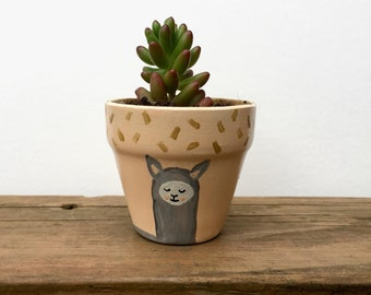 Mini Llama Planter, Mini Succulent, Hand Painted, Terra Cotta, Succulent, Succulent Planter