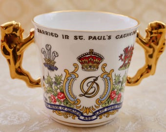 Paragon China Vintage, Loving Cup, Gilt Lion Handles, Royal Wedding 1981, Princess Diana, Royal Memorabilia, Bone China, Decorative Cup