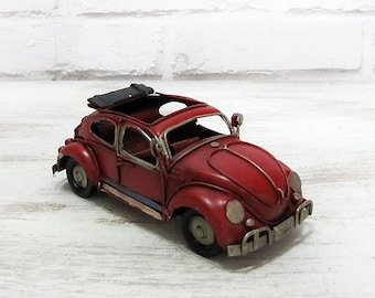 VW Beetle -Mini Vintage Design Vosvos -Red  Hippie  Volkswagen Bug