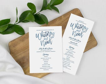 blue watercolor wedding programs, navy blue wedding, blue ceremony program, day of wedding stationery, printed wedding programs