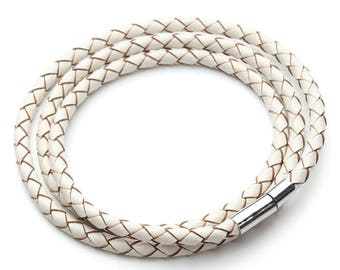 White Braided Leather Bracelet with Magnetic Clasp - Jewelry Making