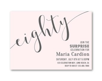 Surprise 80th Birthday Invitations Adult Party Invites Blush Pink And Gray Womens