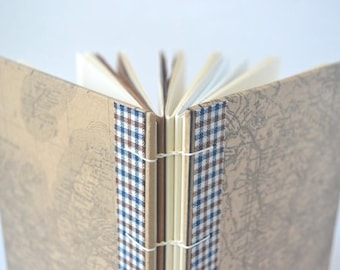 Blue & Brown Plaid Canadiana Map Journal: Maritimes, Brown Vintage Map Hardcover Journal, Coptic Notebook