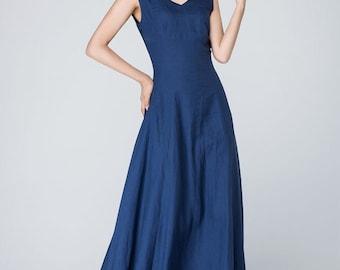 Long linen dress, summer dress, blue dress, maxi dress, V neck dress, sleeveless dress, cocktail dress, ladies dresses, gift for her  1571