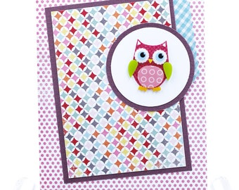 Simple colorful owl all occasion note card in pink and aqua