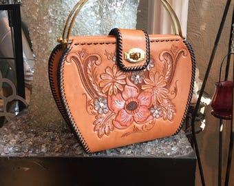 Vintage Hand Tooled Caramel Leather Handbag with Black Whip Stitches
