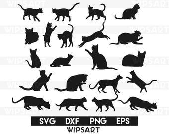 SALE! Cat silhouette svg file, cat clipart, animals silhouettes, cat  silhouette cut
