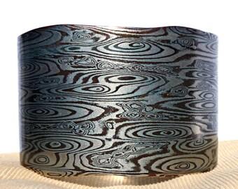 Mokume Gane Bracelet Custom Metalsmith Unique Bracelet Woodgrain Metal Bracelet Woodgrain Pattern Two Color Bracelet Mokume Texture