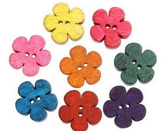 5 buttons - colorful flowers - 2 holes - 19 mm