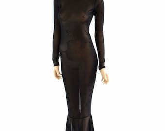 Sheer Black Mesh See Through Mock Turtle Neck Gown with Long Sleeves, Back Zipper and Puddle Train 153910