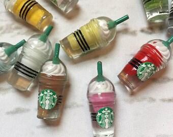 SLIME CHARMS Pieces Starbucks Frappuccino kawaii cabochon mini pink unicorn coffee cup  SLIME Supply supplies