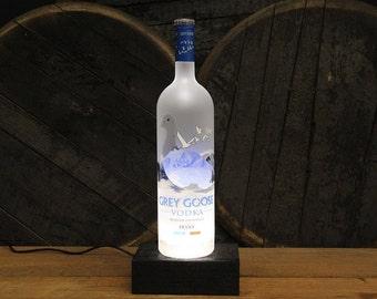 Grey Goose Vodka Light / Glass Vodka Bottle Desk Lamp / Upcycled Liquor Gift,  Vodka Bottle Lamp, Grey Goose Gifts / Mother's Day Gift