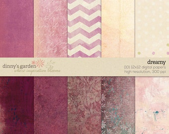 DREAMY 12x12 Digital Papers  | scrapbook printable sheets | pink cream ivory burgundy chevron damask vintage texture script paint