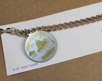 Vintage 14kt Gold Plated Washington DC Charm Bracelet