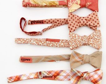 reserved for Katie- wedding party mix and match set- rust, orange, & white.