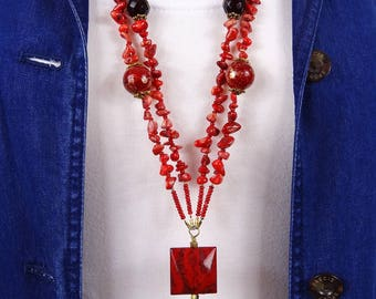 Red Necklace, Long Gemstone Necklace, Long Red Coral Gemstone Necklace, Statement Necklace, Red Coral Necklace, Red Gemstone Necklace, Boho