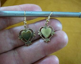simple dainty little Heart leaf design repro Victorian brass dangle earrings EE792-5