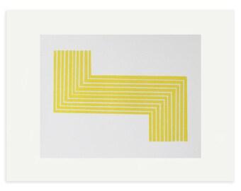 Yellow geometric minimalist modern screenprint. Original handmade art by Emma Lawrenson