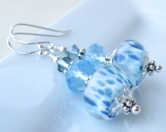 BLue Rain Boro Lampwork Earrings In sterling silver with swarovski crystal