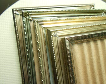 5 Vintage brass and metal gold frames 5x7 for weddings tables or lovely home decor
