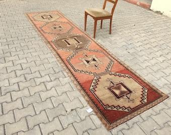 turkısh runner rug 13x3.1 ft,oushak rug,turkısh rug,anotolian rug,Handwoven rug,overdyed rug,bohemian rug,runner rug.area rug,turkısh carpet