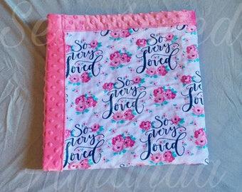 Baby Girl Blanket, Minky Baby Blanket, Soft Baby Blanket, Floral Baby Blanket, Stroller Blanket, New Baby Blanket, Baby Shower Gift