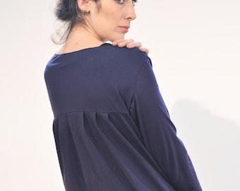 Sale! Jersey jacket ' lobe ' blue jersey folding cardigan