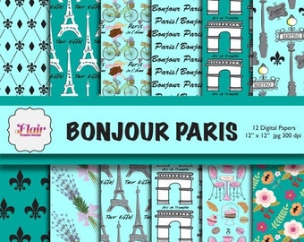 80% OFF BONJOUR PARIS Digital Papers in Light Blue and Green, Hand Drawn Paris, Tiffany Blue, Bicycle, Lavender, Eiffel Tower, Flowers, Scra