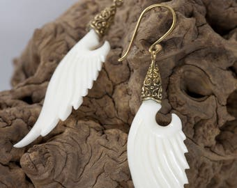 Special Brass Earrings: Stylish wings made of bone hand polished, bone earrings, wing earrings