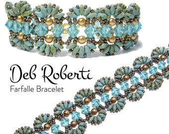 Farfalle Bracelet beaded pattern tutorial by Deb Roberti