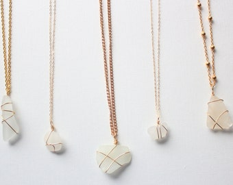 MIDDLE NECKLACE SALE: White Sea Glass Necklace, Gold Chain