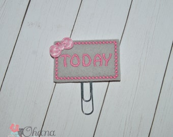 Pink on Gray Today Planner Clips | Erin Condren | Inkwell | Kikki K | Filofax | Plum Planner | Today | Bow | Paperclip | Paper Clip | Feltie