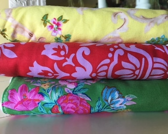 3 Diaper Burp Cloths Roses Baby Shower Nursery Gift Girly Green Red Yellow fabrics by Jennifer Paganelli