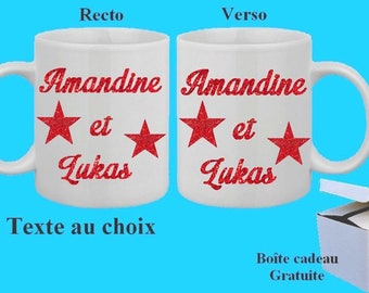 2 Mugs cups personalized names to choose glitter effect, free gift box