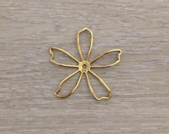 Brass Stampings, Antique Gold Flower, Stamping, 57 mm, 2 pcs