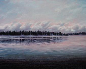 "Landscape Art Print - ""Tree Fog"", Limited Edition Giclee Print on Fine Art Paper of Great Lake shoreline, 7"" x 9.2"""