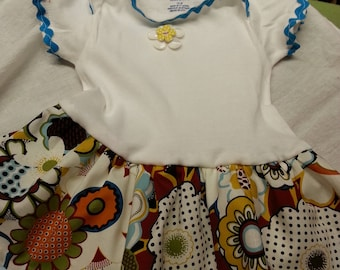 Blue Floral Onesie Dress  - 12 months