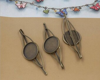 20pcs Cameo Setting Hair Clips / Hairpin tray base DIY Hairpin,Blank Hairpin, 20mm Base Setting Hair Clip(08293)