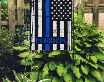 Thin Blue Line - Personalized Garden Flag - Back The Blue - LEO - Yard Flag - Father's Day