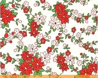 Storybook Christmas White Poinsettias 41749-1 by Whistler Studios for Windham Fabrics
