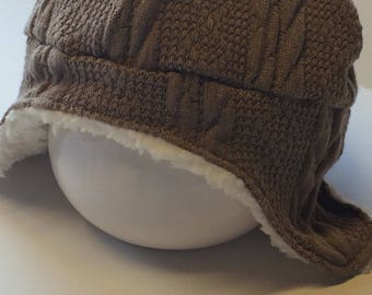 Trapper Hat, Ear flaps baby hat, 1-3Y Ready to Ship